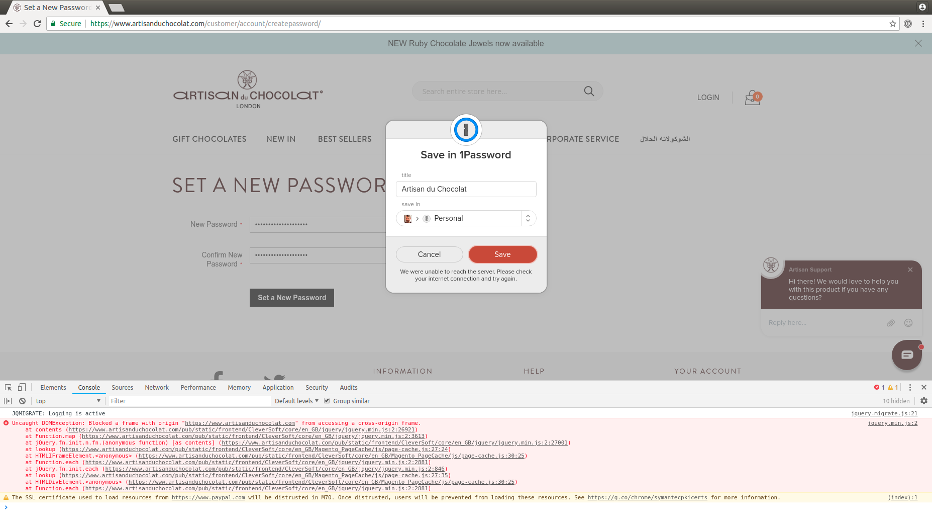 I get Unable to reach our server when trying to save password