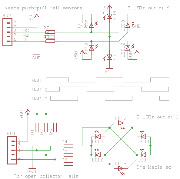 Circuits To Visualize Bldc Hall Sensor Signals On A Group